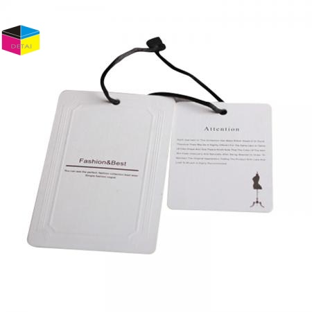White card garment tag with logo