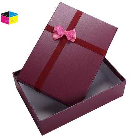 Wholesale Bottom and Lid Gift Packing Boxes with Ribbon Bow