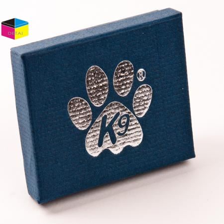 Personalized paper jewelry box with silver foil logo
